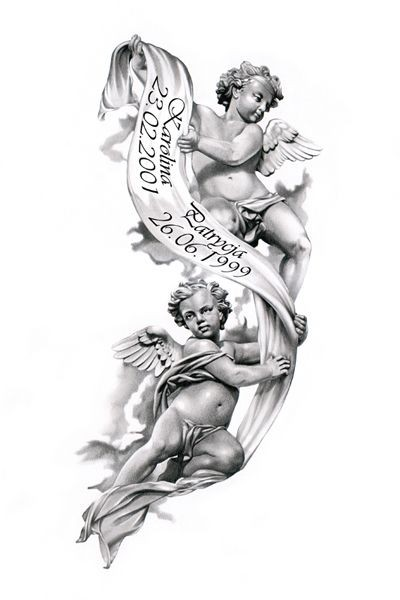 Sweet grey-ink angel babies with a memorial stripe tattoo design