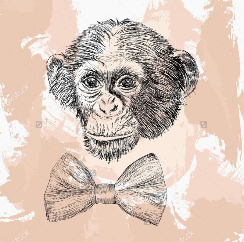 Sweet grey-ink chimpanzee head and big tie-bow tattoo design