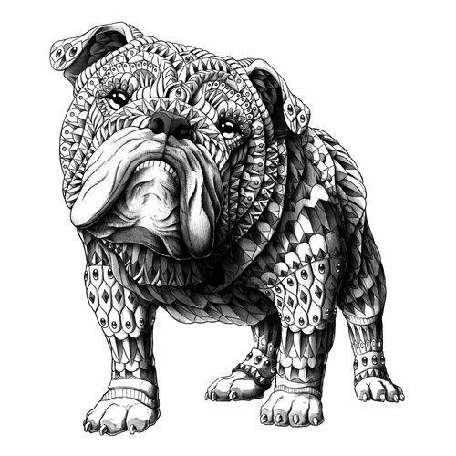 Sweet grey-ink ornate bulldog tattoo design