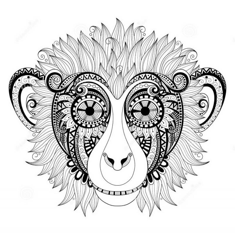 Sweet grey-ink ornate chimpanzee tattoo design