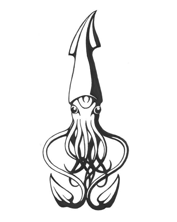 Sweet grey-ink static water animal tattoo design by Sassinak