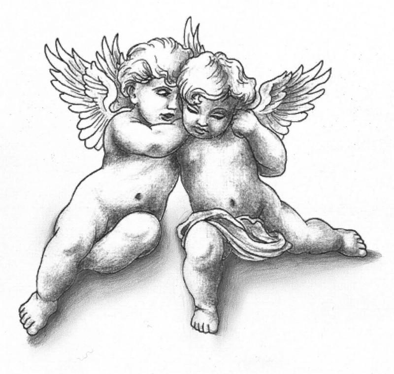 Sweet grey chubby cherub angel couple tattoo design