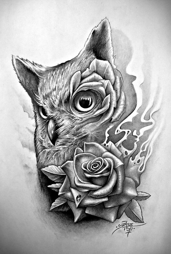 Sweet Grey Owl Head And A Rose In Smoke Tattoo Design