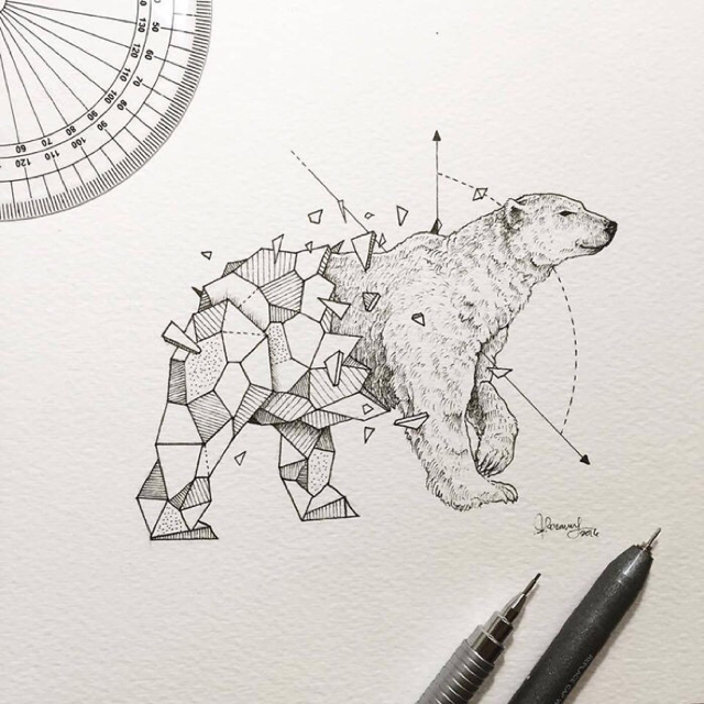Sweet half-geometric polar bear tattoo design
