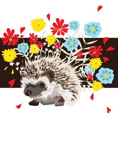 Sweet hedgehog with colorful flowers growing from spiny back tattoo design