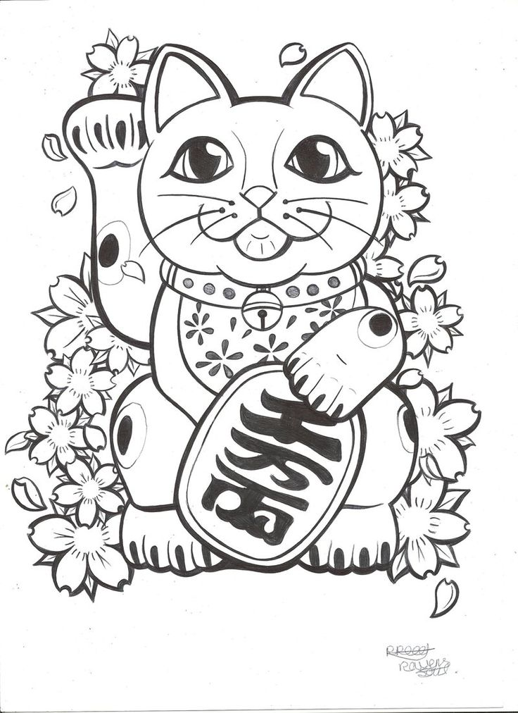 Sweet japanese money cat in flowers tattoo design