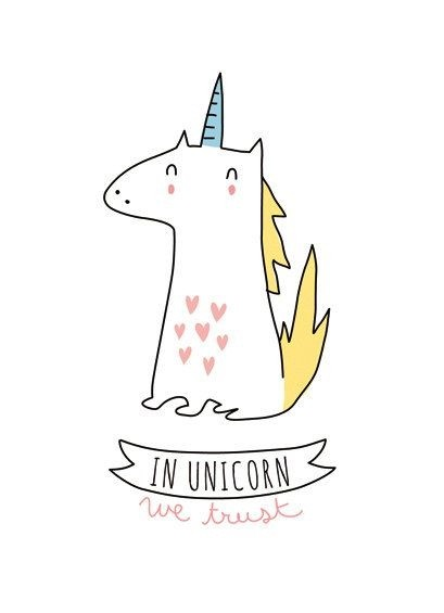 Sweet little white unicorn with heart prints and blue horn over the banner tattoo design