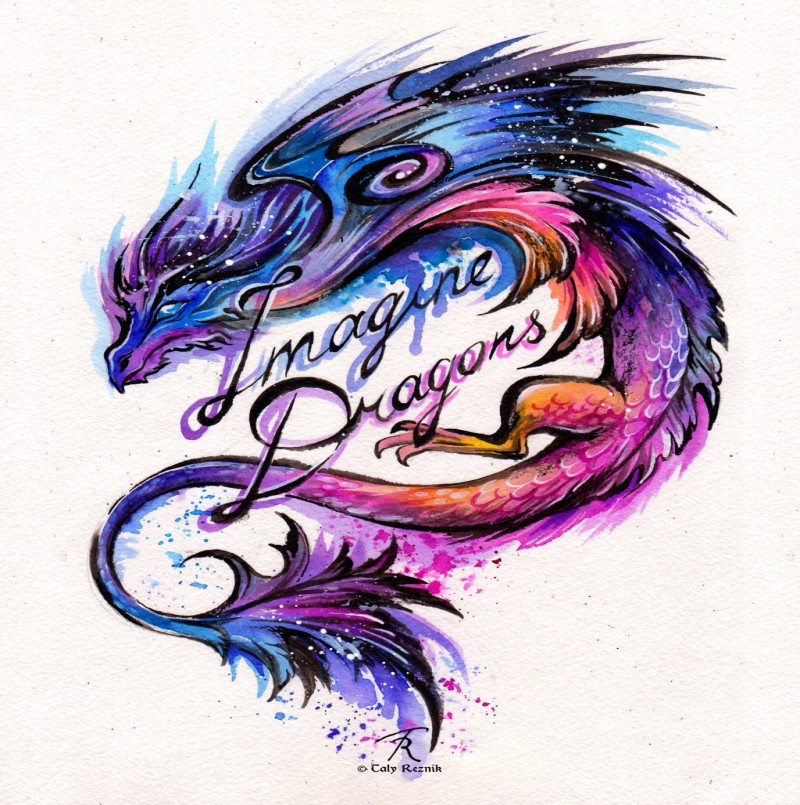sweet lue and purple asian dragon with lettering tattoo design. Black Bedroom Furniture Sets. Home Design Ideas