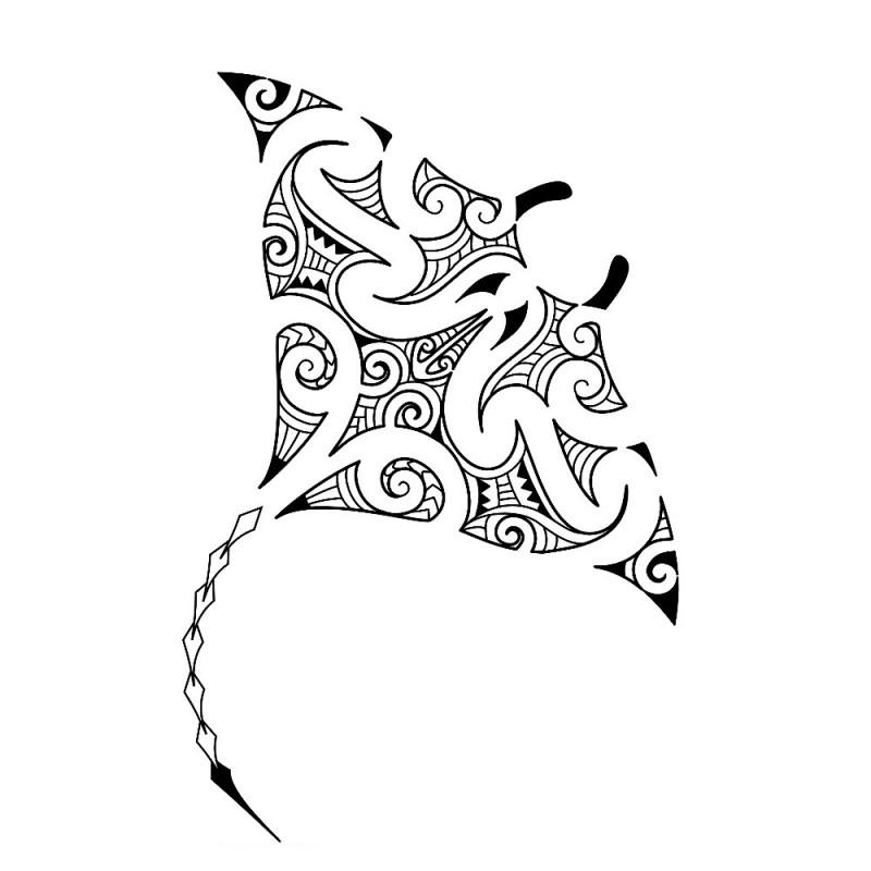 Sweet maori style water animal tattoo design