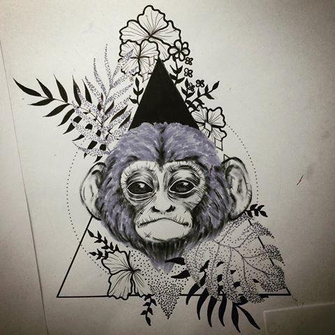 Sweet monkey head with herbals on triangle background for Immagini teschi disegnati