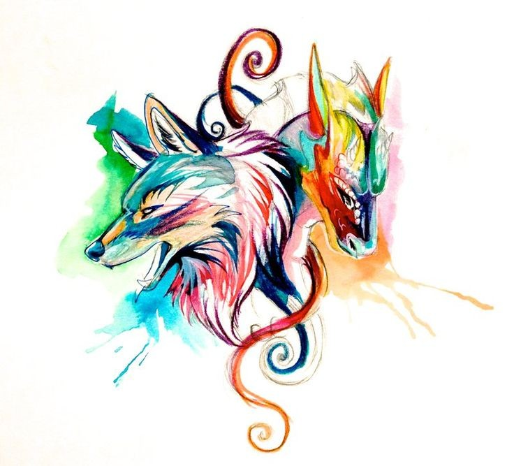 Sweet Multicolor Static Dragon And Wolf Heads Tattoo