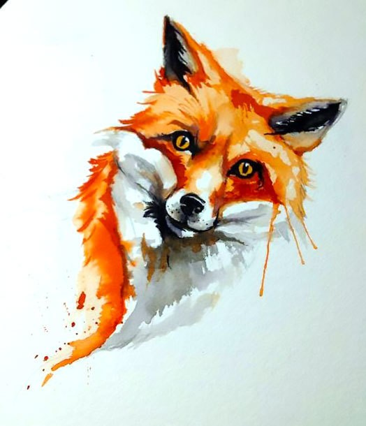 Sweet orange watercolor fox tattoo design