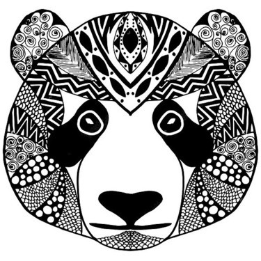 Sweet ornate panda muzzle tattoo design
