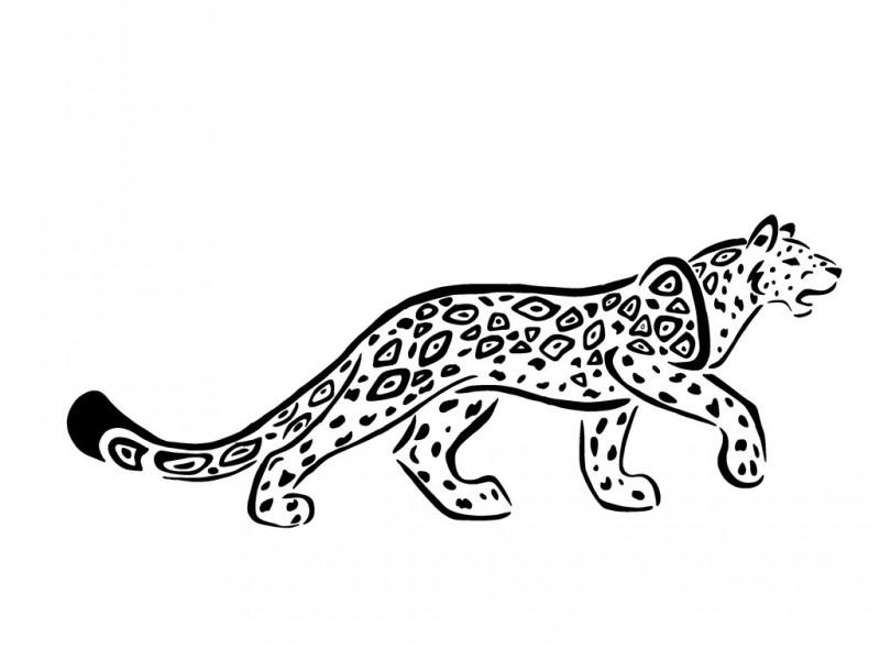 Sweet outline long-body jaguar tattoo design