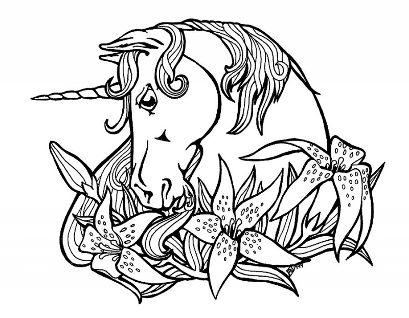 Sweet Outline Unicorn And Lily Flowers Tattoo Design