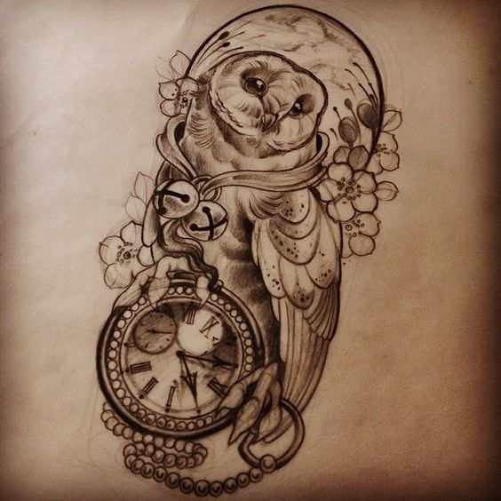 Sweet Owl With Bells And Clock Surrounded With Flowers