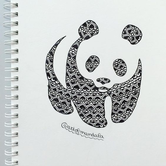 Sweet panda with unique pattern tattoo design