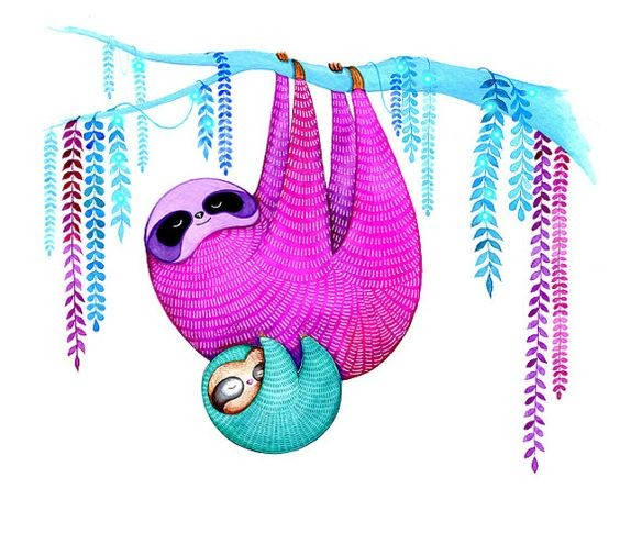 Sweet pink and blue hanging family sloth tattoo design
