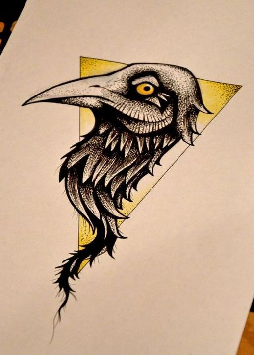 Sweet Raven Portrait In Yellow Triangle Tattoo Design Tattooimages Biz
