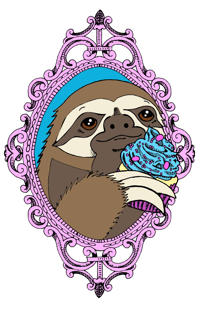 Sweet sloth with ice-cream in pink mirror frame tattoo design