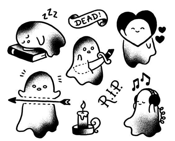 4b28325c64702 Sweet small black-and-white ghosts in old school style tattoo designs