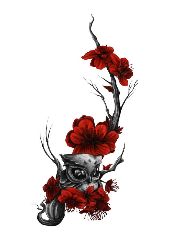 Sweet small grey owl sitting on red-flowered tree branch tattoo design