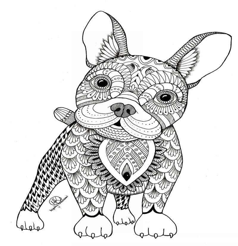 Sweet surprised little dog with pattern tattoo design