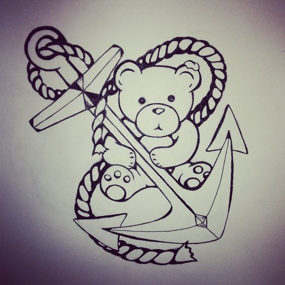 Sweet teddy bear and roped anchor tattoo design