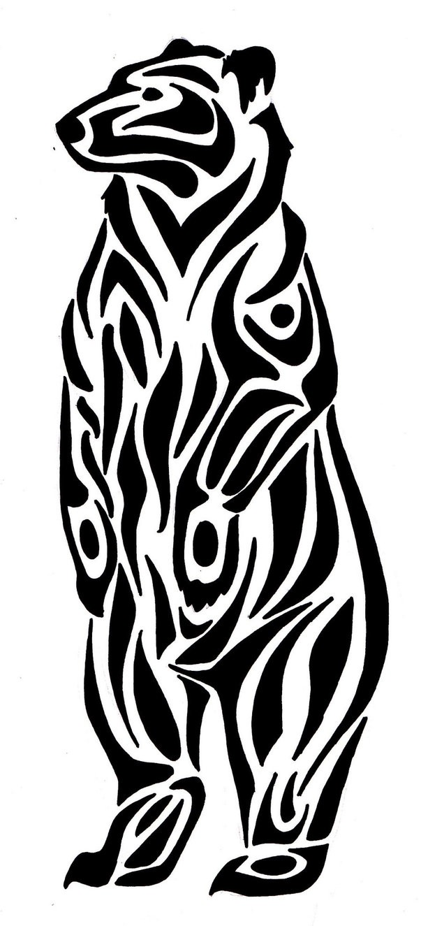 Sweet tribal standing grizzly tattoo design by Fantasy Coolcat