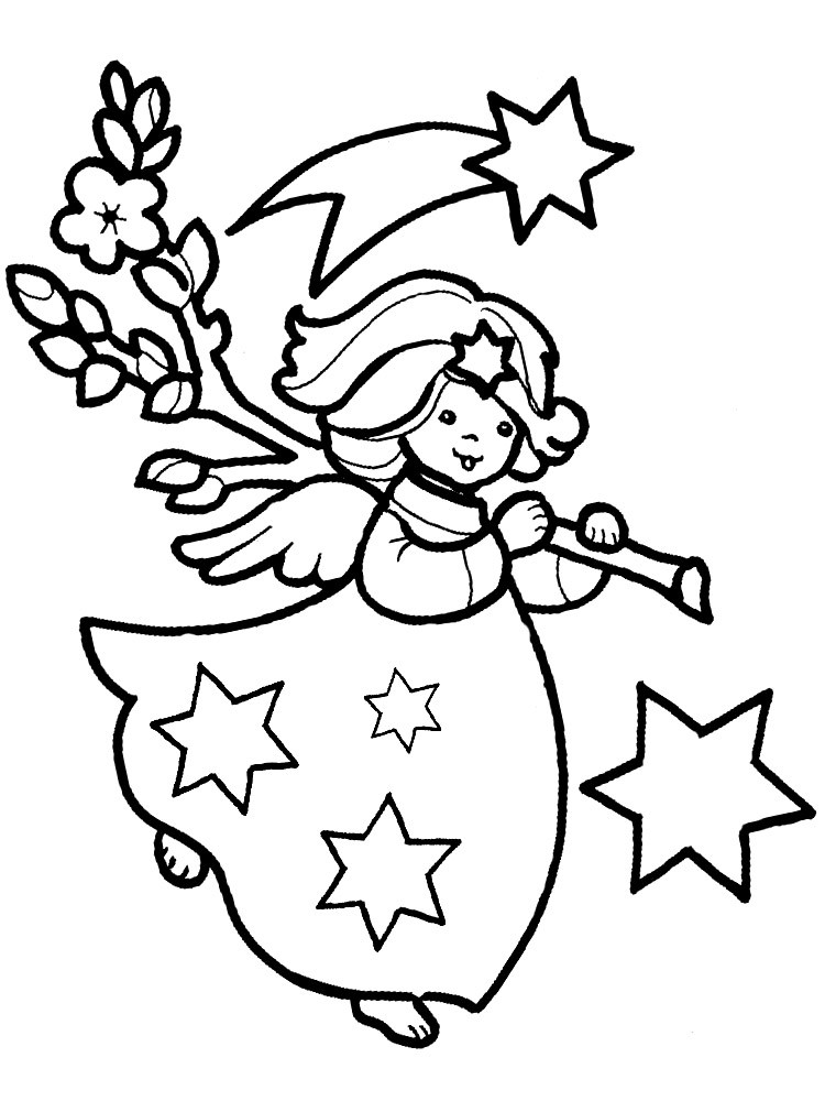 Sweet uncolored cartoon angel with a tree branch and stars tattoo design