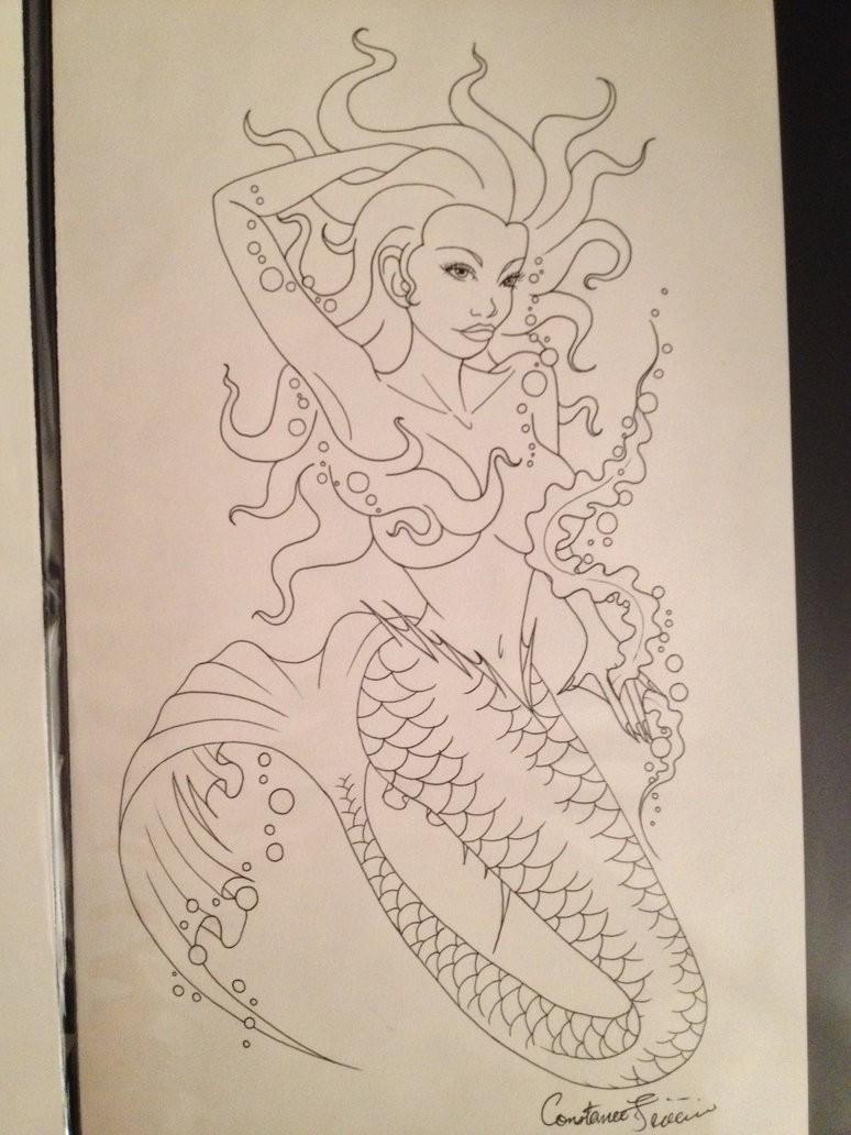 Sweet uncolored cartoon mermaid tattoo design