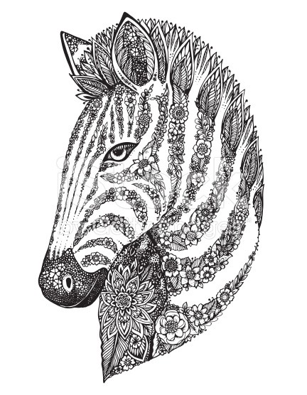 Sweet uncolored floral-patterned zebra head tattoo design