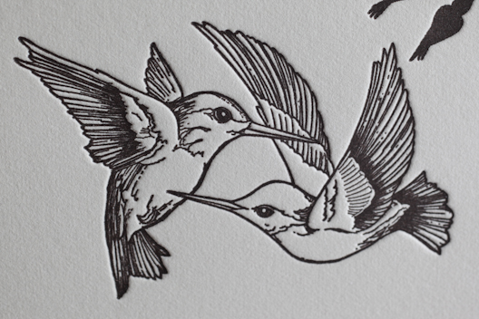 Sweet uncolored flying hummingbird couple tattoo design