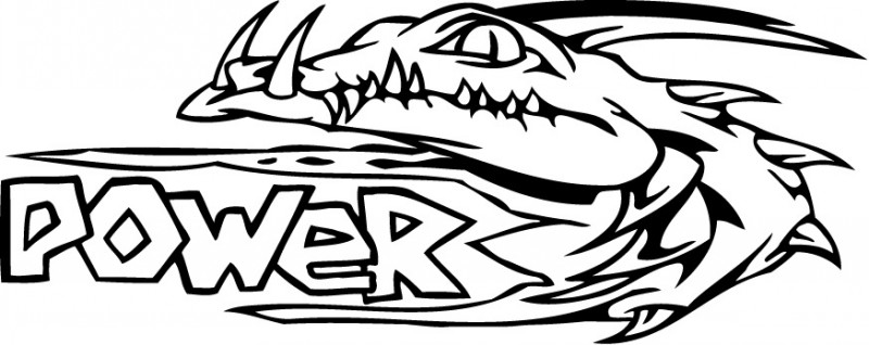 Sweet uncolored reptile head and power quote tattoo design