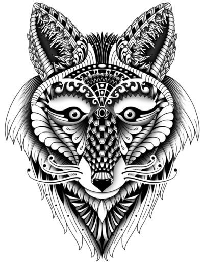 Sweet uncolored wolf head with pattern tattoo design