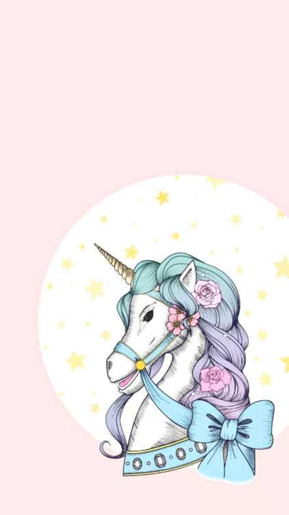 Sweet unicorn with pink roses and blue bow on starred moon background tattoo design