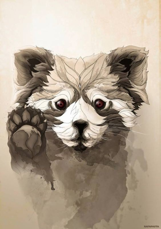 Sweet vinous-eyed animal waving with its paw tattoo design