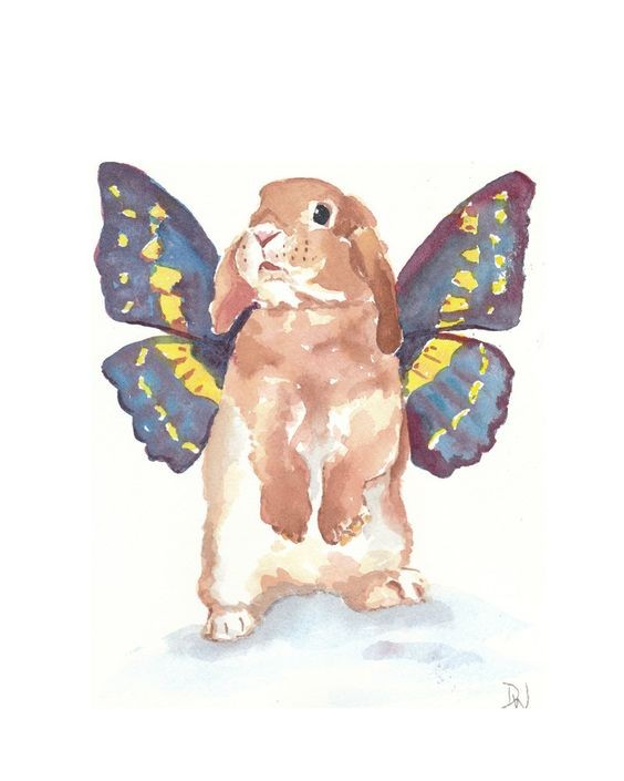 Sweet watercolor hare baby with butterfly wings tattoo design