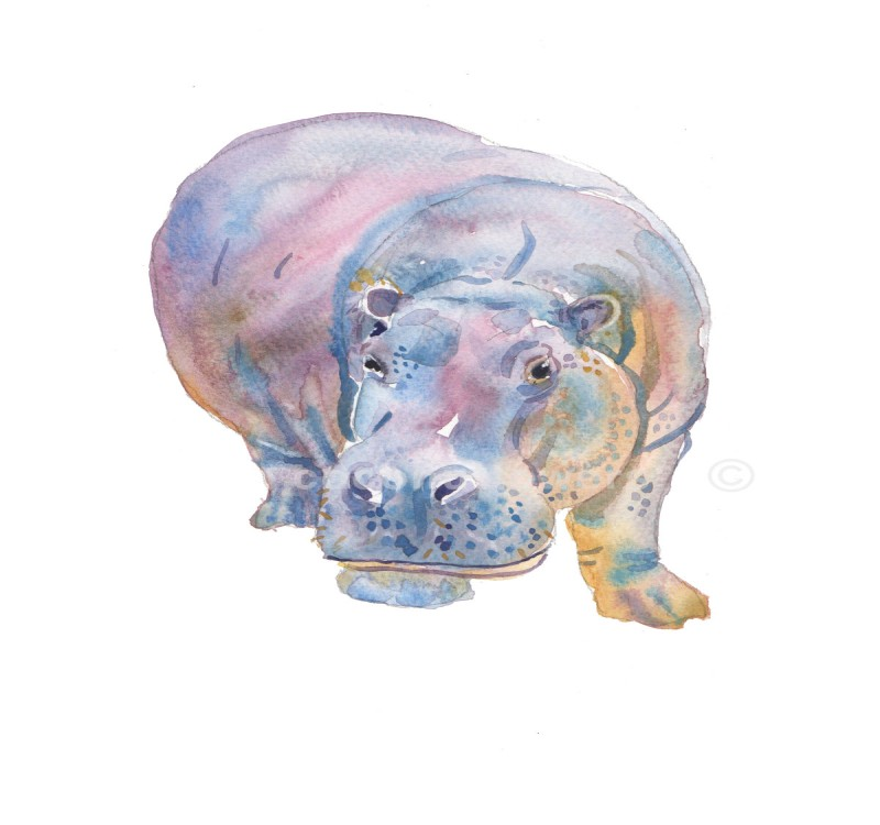 Sweet watercolor hippo walking ahead tattoo design