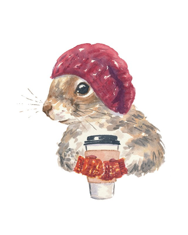 Sweet watercolor squirrel in wooden beret and glowes with coffee tattoo design