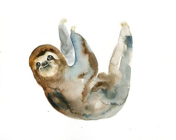Sweet waterolor sloth tattoo design