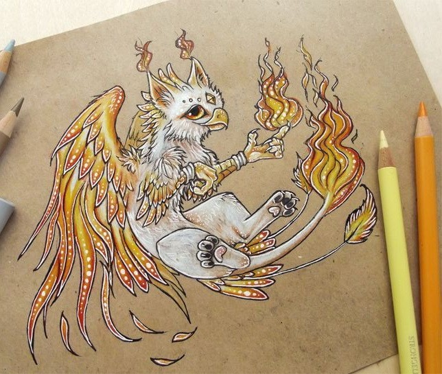 Sweet white-and-orange griffin baby tattoo design