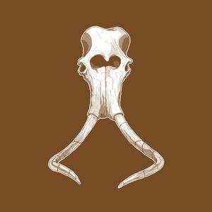 Sweet white-ink mammoth skull tattoo design