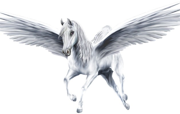 Sweet white running pegasus tattoo design