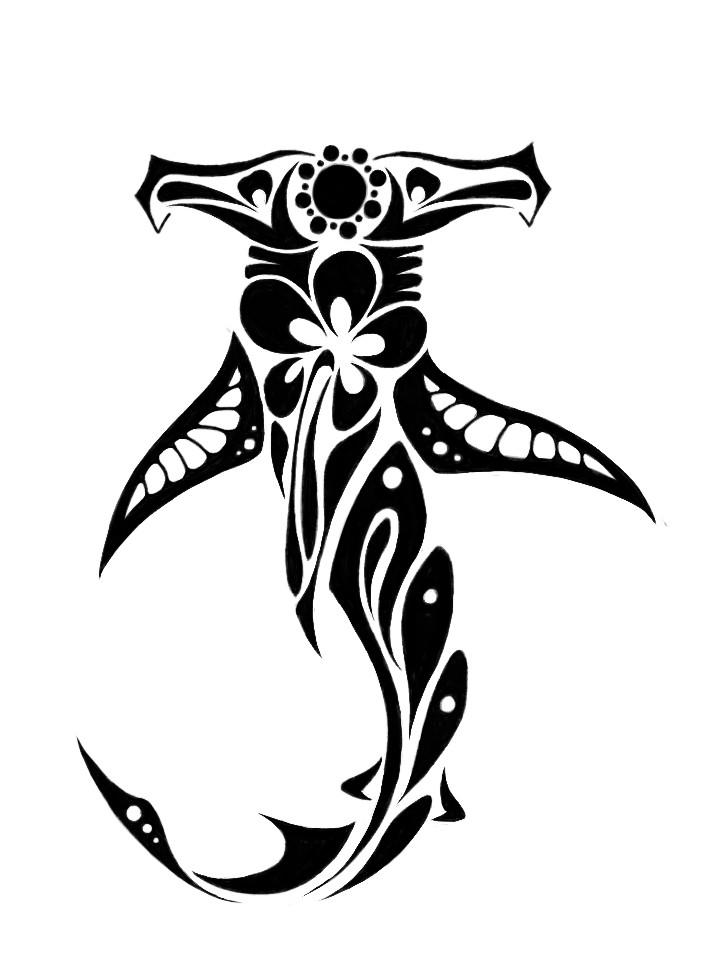 Swet hummer shark with floral pattern tattoo design