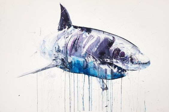 Swimming shark in blue watercolor smudges tattoo design