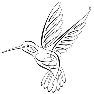 Swirly-line flying hummingbird tattoo design