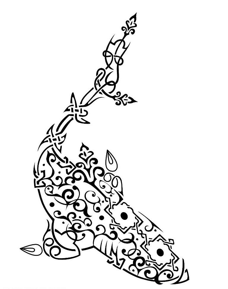 Swirly arabic shark tattoo design