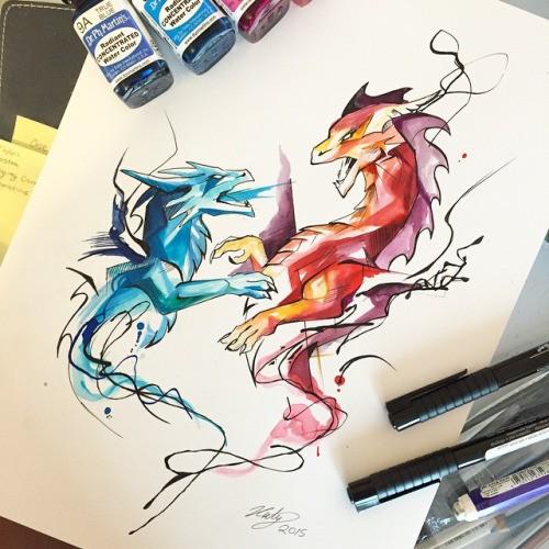 Swirly blue and orange dragon friends tattoo design