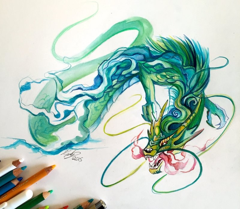 Swirly green-and-blue chinese dragon breathing with red smoke tattoo design by Lucky978